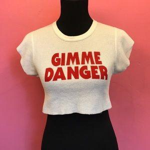 Gimme Danger printed long underwear crop top